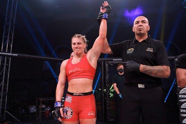 Bicampeã olímpica de judô, Kayla Harrison é contratada da PFL e segue invicta no MMA — Foto: Invicta FC