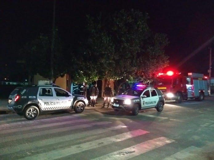 Base da PM na Zona Norte de Natal foi incendiada — Foto: Acson Freitas/Inter TV Cabugi