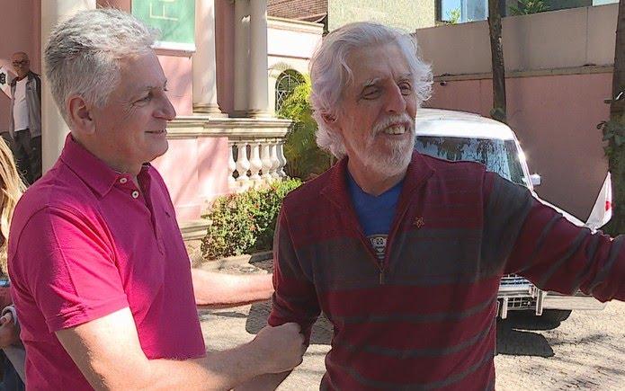 Deputado federal Rogerio Correa (PT) e o vereador e presidente do PT em Belo Horizonte, Arnaldo Godoy — Foto: Reprodução/TV Globo