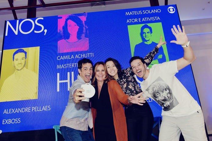 Mateus Solano, Renata Ceribelli, Camila Achutti e Alexandre Pellaes nio Menos30 Fest — Foto: Globo / Gustavo Scatena