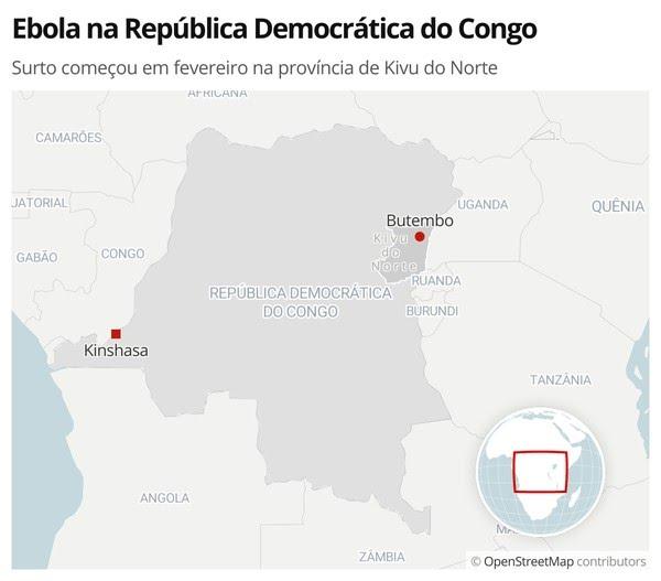 Ebola na República Democrática do Congo: 12º surto começou em fevereiro na província de Kivu do Norte — Foto: G1