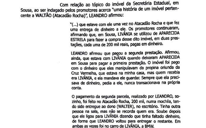 Trecho do depoimento de Leandro Nunes ao Ministério Público — Foto: Reprodução/MPPB