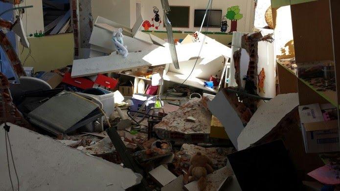Cômodo da igreja ficou totalmente destruído em explosão