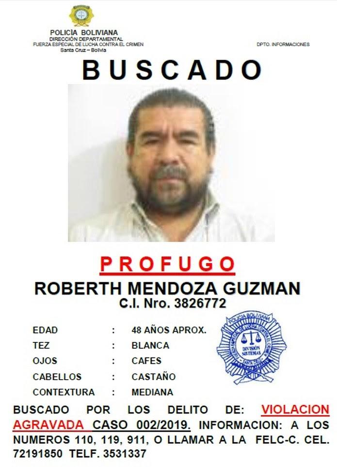 Roberth Mendoza Guzman era procurado pela polícia boliviana desde 2018.  — Foto: Divulgação/Polícia boliviana
