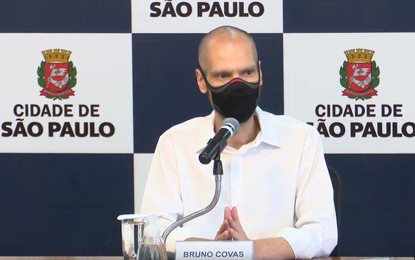Prefeito Bruno Covas em coletiva de imprensa no dia 4 de fevereiro, na sede da Prefeitura de SP — Foto: Reprodução/Youtube