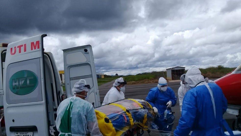 O paciente retornando para Jundiaí (SP), para ficar próximo da família — Foto: Lussandro Regino/Rede Amazônica