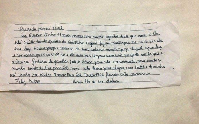 Bruno pede pão de forma, presunto, muçarela e cesta básica ao Papai Noel em Franca, SP — Foto: José Augusto Júnior/EPTV