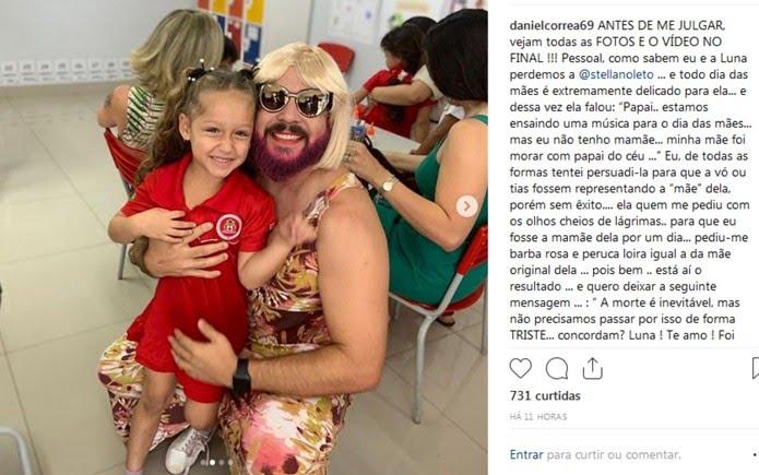 Daniel Correa atende pedido da filha e veste roupa de 'mãe' para ir na festa do Dia das Mães na escola — Foto: Reprodução/Intagram