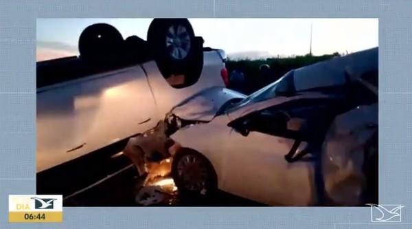 Motorista embriagado causa acidente ao bater em 4 carros na BR-222 — Foto: Reprodução/TV Mirante