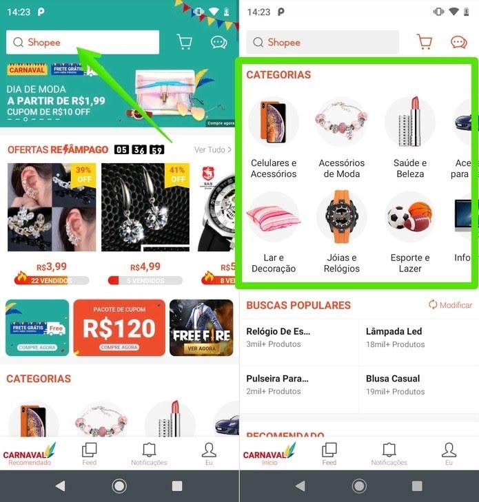 Página inicial do app Shopee — Foto: Reprodução/Helito Beggiora