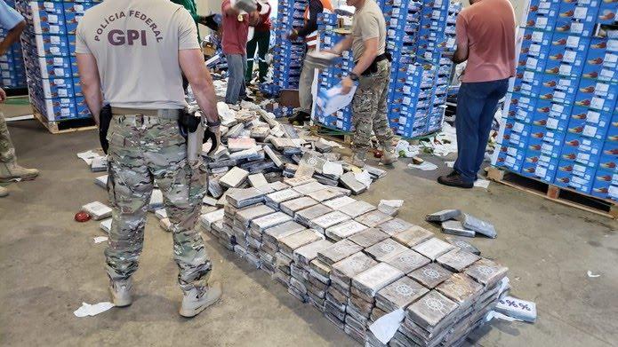 Drogas foram encontradas em carga de manga no porto de Natal — Foto: PF/divulgação