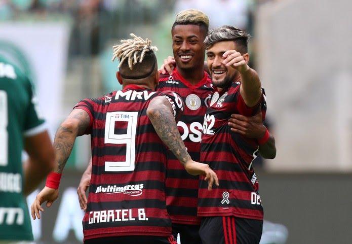 Gabigol, Bruno Henrique, Arrascaeta, Flamengo — Foto: REUTERS/Amanda Perobelli