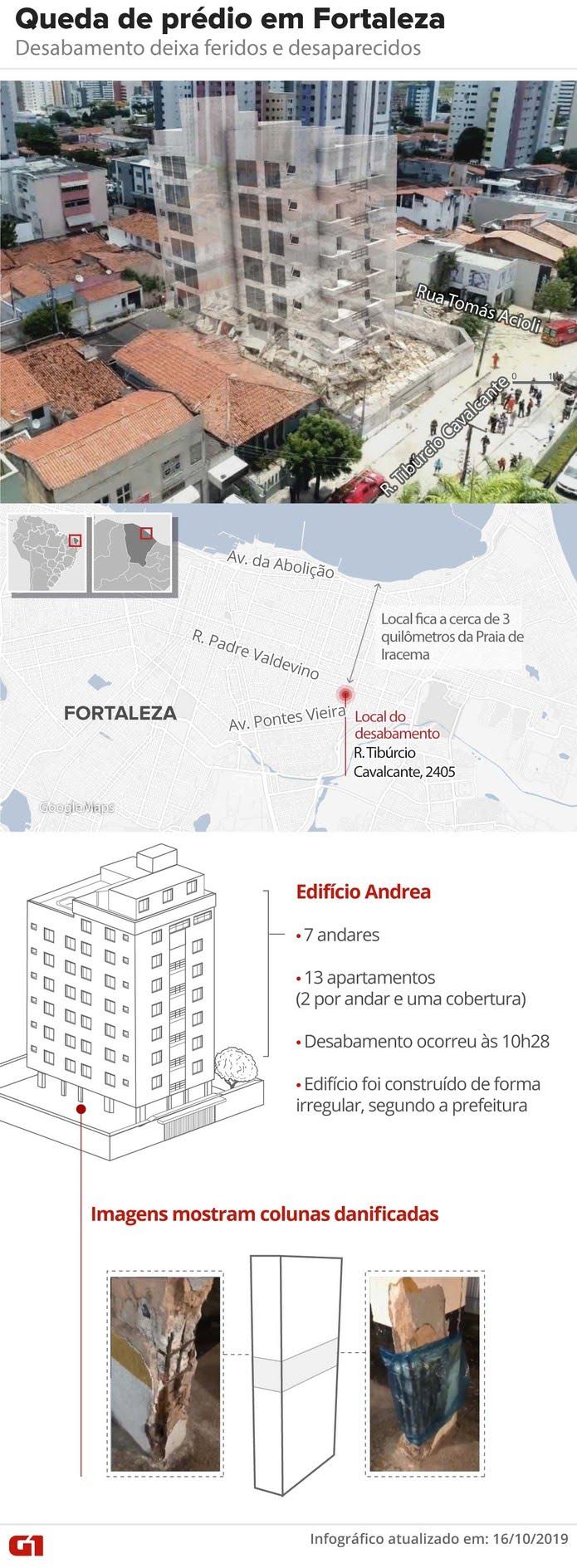 Mapa mostra localização do Edifício Andrea, que desabou nesta terça-feira em Fortaleza — Foto: Juliane Souza/ G1