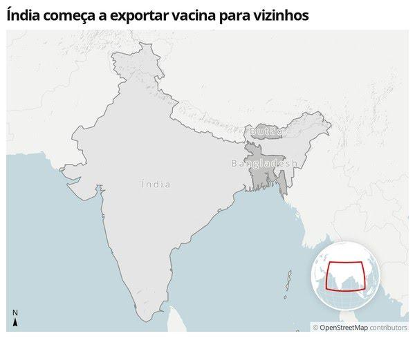 Mapa mostra a localização da Índia, Butão e Bangladesh — Foto:  G1