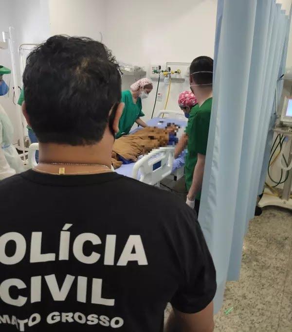 Heitor Maciel dos Santos, de 2 anos, desapareceu em Lucas do Rio Verde e foi encontrado três dias depois; foto mostra garoto passando por exames em hospital — Foto: Polícia Civil de Mato Grosso