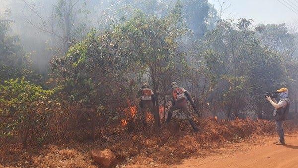 Corpo de Bombeiros tenta combater chamas em Chapada dos Guimarães — Foto: Lorena Segala/TVCA