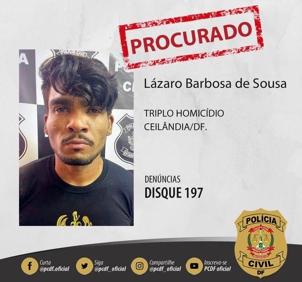 Polícia Civil procura homem suspeito de matar família, em Ceilândia, no DF, e sequestrar mulher, que segue desaparecida — Foto: Polícia Civil do DF/ Reprodução