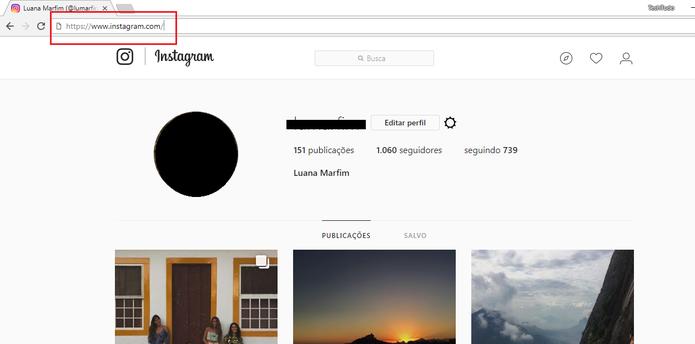 Para postar fotos no Instagram pelo PC é necessário abrir o site da rede social (Foto: Reprodução/Luana Marfim)
