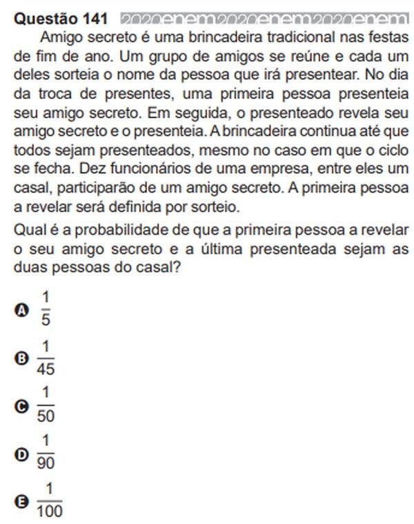 Inep anula questões do Enem 2020: em matemática, uma pergunta sobre probabilidades em uma brincadeira de amigo secreto foi invalidada. — Foto: Reprodução/Inep