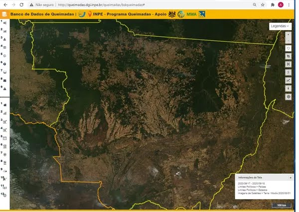 Imagem de satélite do Inpe, do dia 1º de agosto, mostra o estado de Mato Grosso quase sem fumaça. — Foto: Instituto Nacional de Pesquisas Espaciais (Inpe)