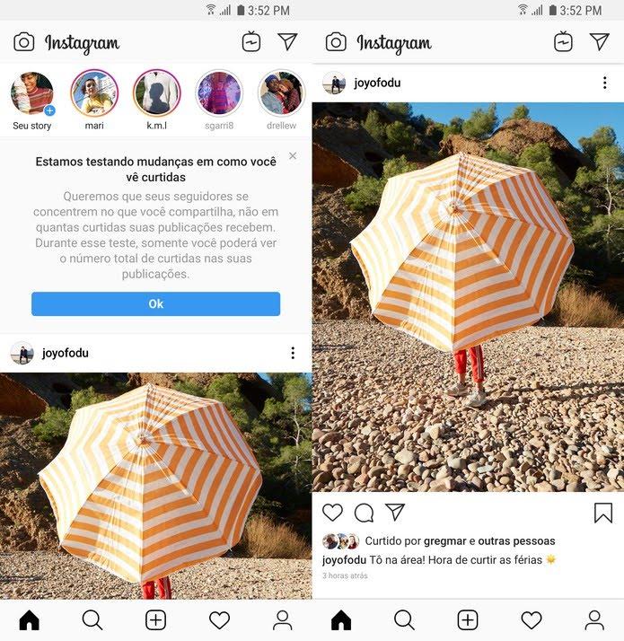 Instagram removerá contagem de curtidas no feed. — Foto: Divulgação/Instagram