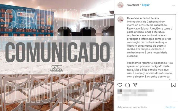 Festa Literária Internacional de Cachoeira é cancelada por causa da pandemia da Covid-19 — Foto: Reprodução/Instagram