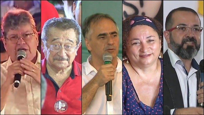 Candidatos ao Governo da PB nas Eleições 2018: João Azevedo (PSB), José Maranhão (MDB), Lucélio Cartaxo (PV), Rama Dantas (PSTU), Tárcio Teixeira (PSOL) — Foto: TV Cabo Branco/Reprodução