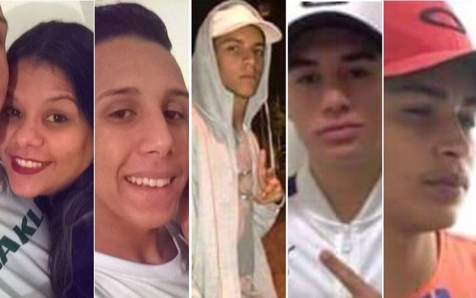 Vítimas de acidente de carro em Guarulhos: Ariadne da Silva, Gustavo Dantas Urbano, João vitor Gomes Alves, João Vitor Borges Gomes e Cauã Samuel de Almeida (Foto: Reprodução/Redes sociais)