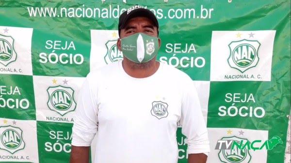 Delany volta à condição de auxiliar técnico fixo do Nacional de Patos — Foto: Reprodução / TV Naça