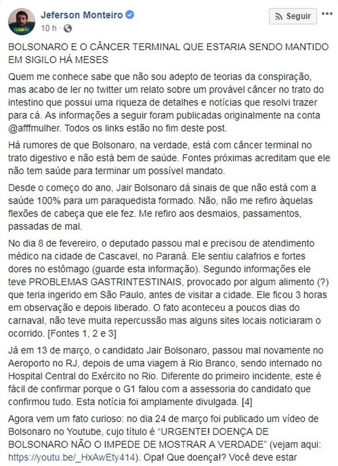 Texto que levanta teoria sobre câncer de Bolsonaro — Foto: Reprodução