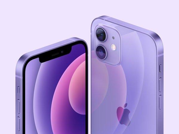 iPhone 12 e iPhone 12 mini na cor roxa. — Foto: Divulgação/Apple