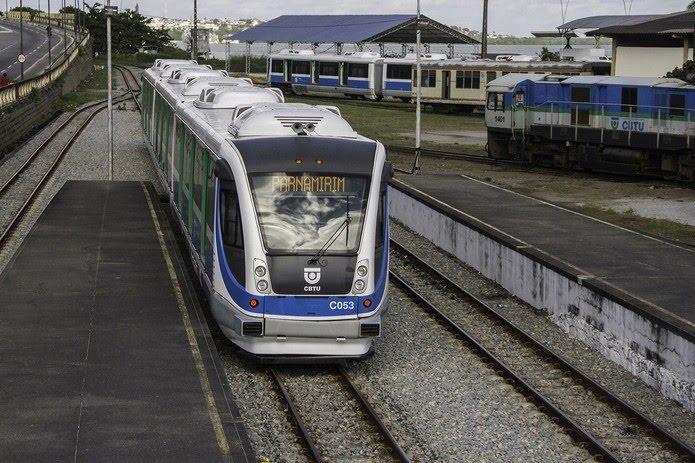 Trem da CBTU, indo a Parnamirim, na Grande Natal — Foto: CBTU/Divulgação