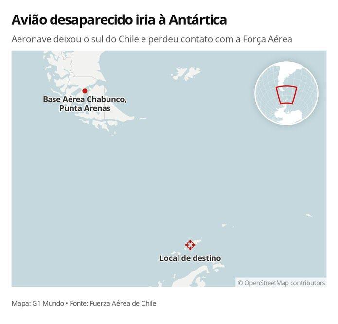 Local de partida e de destino de avião militar chileno desaparecido — Foto: G1 Mundo