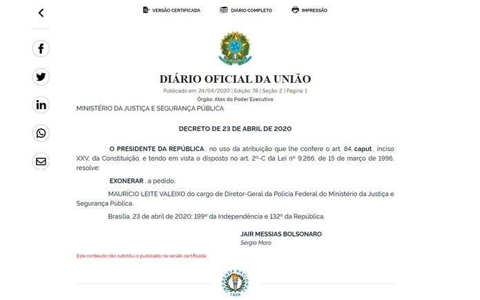Decreto de exoneração do diretor-geral da PF, Maurício Leite Valeixo, publicado no Diário Oficial da União desta sexta-feira (24) — Foto: Reprodução / Diário Oficial da União