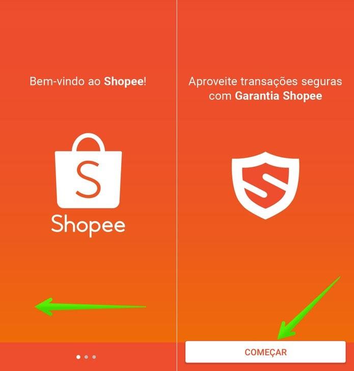 Telas de introdução do app Shopee — Foto: Reprodução/Helito Beggiora