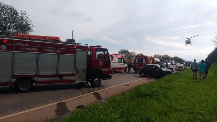 Helicóptero Águia resgatou vítima em estado grave de acidente na SP-133 em Limeira — Foto: Guarda Municipal de Cosmópolis