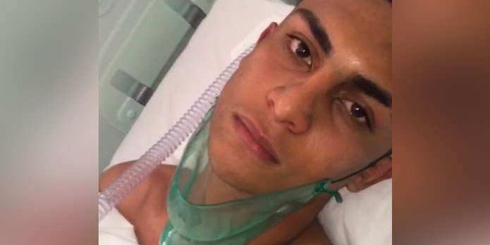 Goleiro da base do Flamengo Dyogo Bento feriu as mãos durante incêndio — Foto: Dyogo Bento/Arquivo pessoal