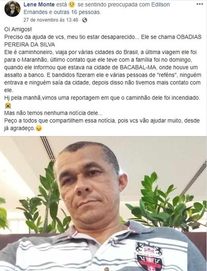 Sobrinha de Obadias faz campanha nas redes sociais na busca por notícias do tio — Foto: Reprodução/Redes sociais