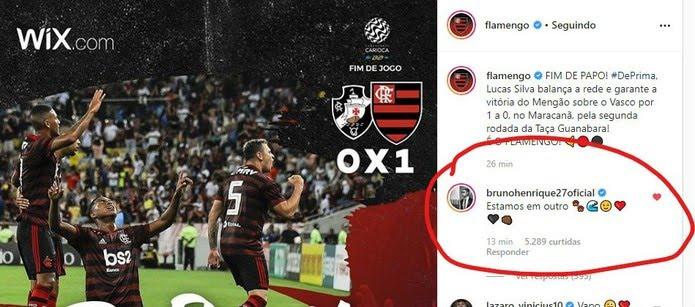 Bruno Henrique comentou no Instagram do Flamengo após o clássico — Foto: Reprodução
