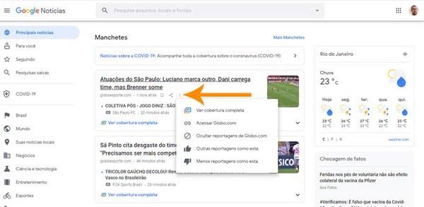 O usuário pode ocultar as fontes que não são do seu interesse — Foto: Reprodução/Pedro Cardoso