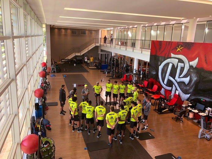 Jogadores do Flamengo se reapresentaram no Ninho do Urubu — Foto: Divulgação Flamengo