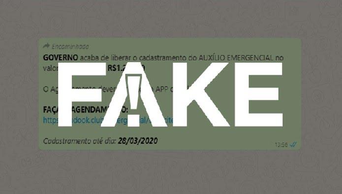 É #FAKE mensagem que diz fala em cadastro para receber de R$ 600 a R$ 1.200 de auxílio emergencial — Foto:  G1