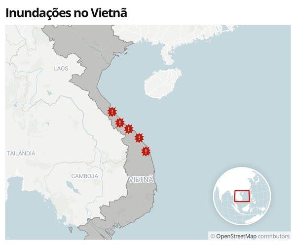 Inundações no Vietnã em 12 de outubro — Foto: G1