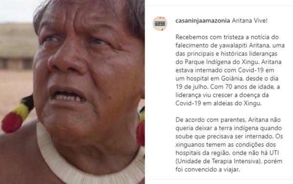 Homenagens a Aritana Yawalapiti — Foto: Reprodução/Instagram