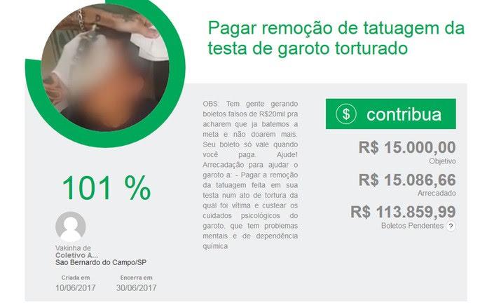 Vaquinha online arrecadou R$ 15 mil