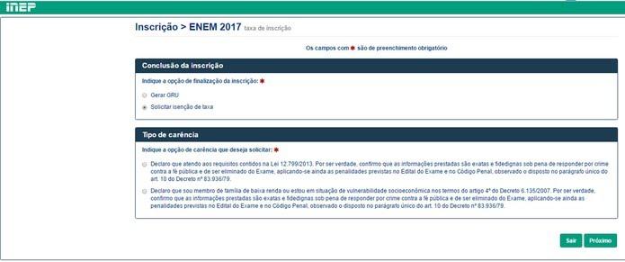 Enem 2017: conclusão da inscrição prevê gerar boleto ou pedir isenção