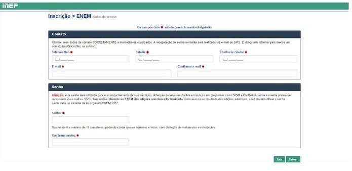 Enem 2017 - tela de inscrição vai exigir dados de contato