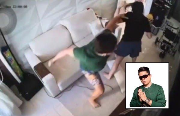 Câmera flagra momento em que DJ Ivis agride a ex-mulher, Pamella Holanda. — Foto: Câmeras de segurança