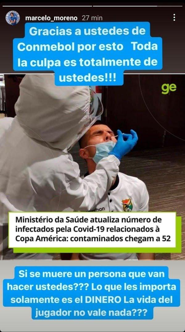 Marcelo Moreno faz crítica a Conmebol — Foto: Reprodução/Instagram