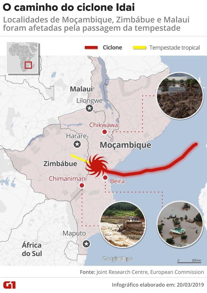 Ciclone Idai atinge Moçambique e afeta outros dois países da África — Foto: Rodrigo Sanches/G1